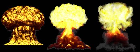 3 large very highly detailed different phases mushroom cloud explosion of nuke bomb with smoke and fire isolated on black - 3D illustration of explosion Imagens