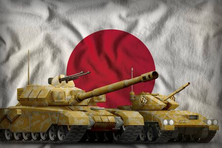 tanks with orange camouflage on the Japan flag background. Japan tank forces concept. 3d Illustration