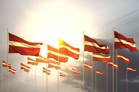 cute many Latvia flags in a row on sunset with empty place for text - any feast flag 3d illustration