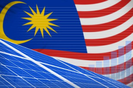 Malaysia solar energy power digital graph concept  - renewable energy industrial illustration. 3D Illustration