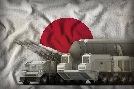rocket forces on the Japan flag background. Japan rocket forces concept. 3d Illustration