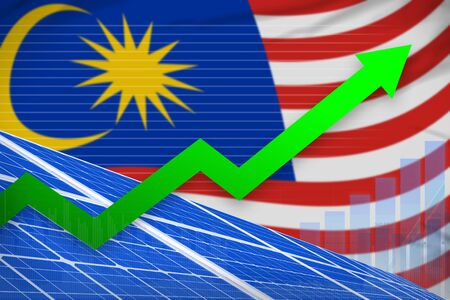Malaysia solar energy power rising chart, arrow up  - environmental energy industrial illustration. 3D Illustration