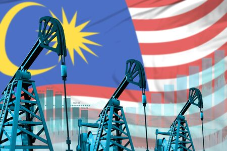 Malaysia oil and petrol industry concept, industrial illustration on Malaysia flag background. 3D Illustration
