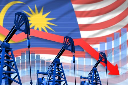 Malaysia oil industry concept, industrial illustration - lowering, falling graph on Malaysia flag background. 3D Illustration