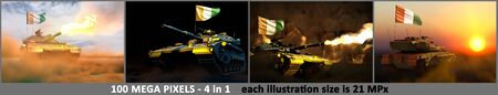 4 pictures of highly detailed tank with not real design and with Cote d Ivoire flag - Cote d Ivoire army concept with place for your content, military 3D Illustration