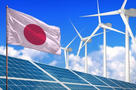 Japan solar and wind energy, renewable energy concept with windmills - renewable energy against global warming - industrial illustration, 3D illustration Imagens