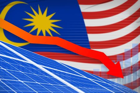 Malaysia solar energy power lowering chart, arrow down  - alternative energy industrial illustration. 3D Illustration