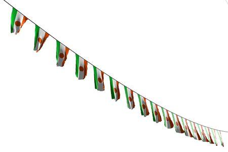 nice many Niger flags or banners hanging diagonal on rope isolated on white - any holiday flag 3d illustration Imagens