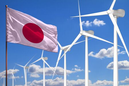 Japan alternative energy, wind energy industrial concept with windmills and flag - alternative renewable energy industrial illustration, 3D illustration