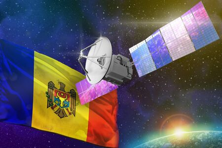 Satellite with Moldova flag, space communications technology concept - 3D Illustration