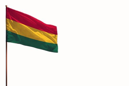 Fluttering Bolivia flag isolated, mockup with the place for your text on white background.