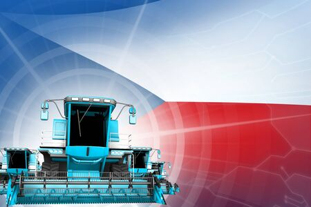 Farm machinery modernisation concept, blue modern wheat combine harvesters on Czechia flag - digital industrial 3D illustration