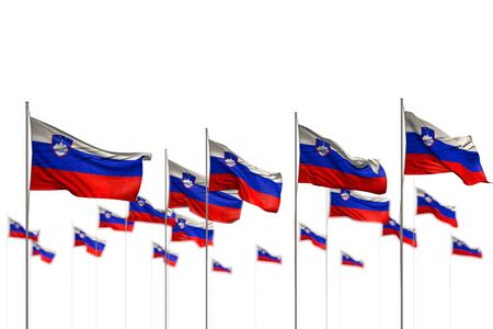 wonderful any celebration flag 3d illustration  - Slovenia isolated flags placed in row with selective focus and place for content