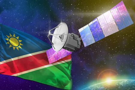 Satellite with Namibia flag, space communications technology concept - 3D Illustration