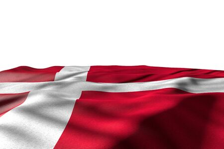 cute independence day flag 3d illustration  - mockup illustration of Denmark flag lying with perspective view isolated on white with space for your content