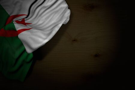 cute anthem day flag 3d illustration  - dark picture of Algeria flag with large folds on dark wood with empty space for content
