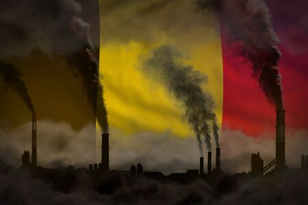 Dark pollution, fight against climate change concept - industrial pipes dense smoke on Belgium flag background - industrial 3D illustration