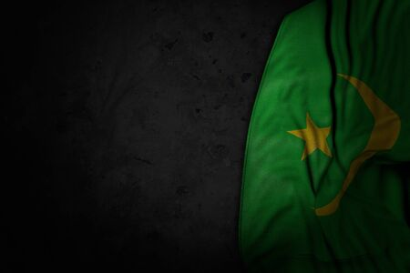 beautiful feast flag 3d illustration  - dark picture of Mauritania flag with big folds on black stone with empty place for content