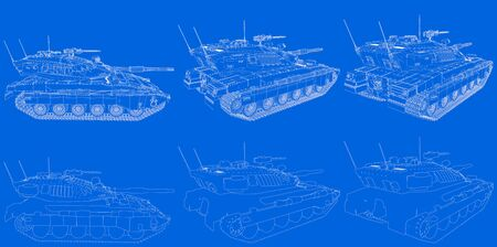 blue print of outlined isolated 3D tank with fictive design, detailed modern tanks concept - military 3D Illustration