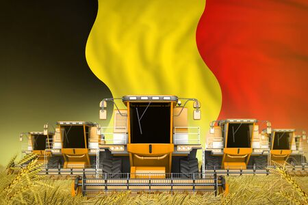 industrial 3D illustration of many yellow farming combine harvesters on wheat field with Belgium flag background - front view, stop starving concept