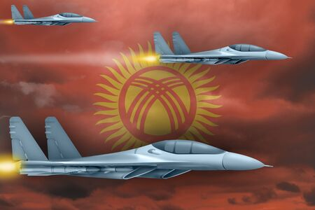 Kyrgyzstan air strike concept. Modern war airplanes attack on Kyrgyzstan flag background. 3d Illustration Фото со стока