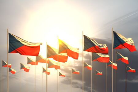 nice feast flag 3d illustration  - many Czechia flags in a row on sunset with empty space for your content