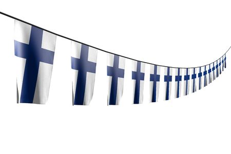 wonderful labor day flag 3d illustration  - many Finland flags or banners hanging diagonal with perspective view on string isolated on white