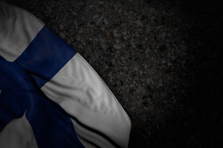 cute dark illustration of Finland flag with large folds on dark asphalt with empty space for your content - any occasion flag 3d illustration