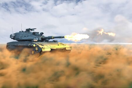 Military 3D Illustration of modern tank with not existing design in combat shooting in desert, very high resolution tank fight concept Stock Photo