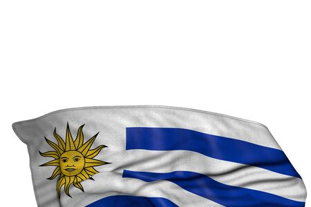 pretty any celebration flag 3d illustration  - Uruguay flag with big folds lie in the bottom isolated on white
