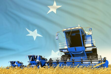 blue rural agricultural combine harvester on field with Micronesia flag background, food industry concept - industrial 3D illustration Reklamní fotografie
