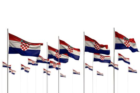pretty feast flag 3d illustration  - Croatia isolated flags placed in row with bokeh and space for your text Stock Photo