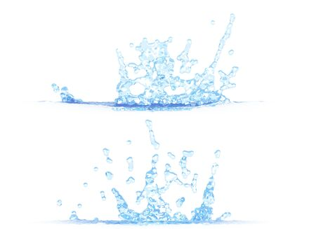 two side views of pretty water splash - 3D illustration, mockup isolated on white - for design purposes Imagens