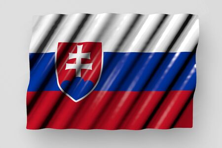 cute holiday flag 3d illustration  - shining flag of Slovakia with big folds lying isolated on grey