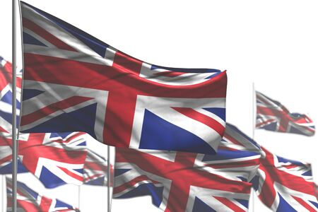 nice many United Kingdom (UK) flags are waving isolated on white - photo with soft focus - any feast flag 3d illustration