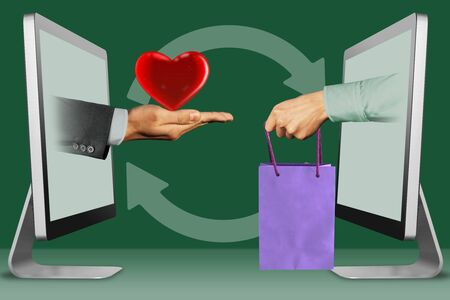 hi-tech concept, hands from displays. heart and hand with shopping bag . 3d illustration Imagens