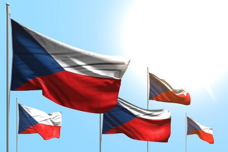 cute 5 flags of Czechia are waving on blue sky background - any occasion flag 3d illustration  Imagens
