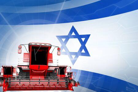 Farm machinery modernisation concept, red modern rye combine harvesters on Israel flag - digital industrial 3D illustration