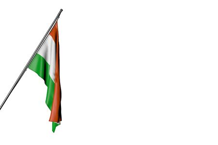 nice any occasion flag 3d illustration  - Niger flag hangs on a in corner pole isolated on white Imagens