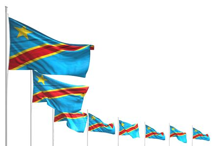 nice many Democratic Republic of Congo flags placed diagonal isolated on white with space for your content - any celebration flag 3d illustration Standard-Bild - 134493555