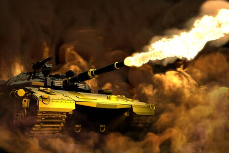 green camouflage modern tank with fictive design in fight firing with battlefield around, patriotism concept - military 3D Illustration Imagens - 134410262
