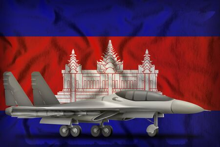 fighter, interceptor on the Cambodia flag background. 3d Illustration