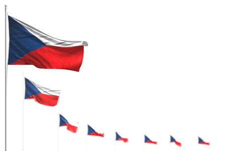nice any feast flag 3d illustration  - Czechia isolated flags placed diagonal, photo with soft focus and place for content