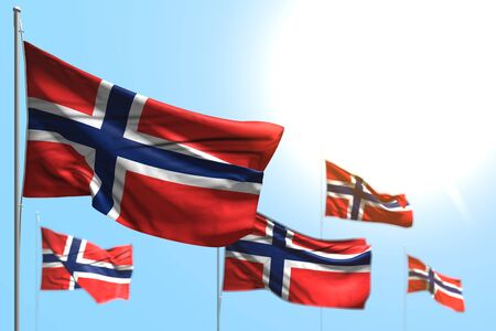 cute national holiday flag 3d illustration - 5 flags of Norway are wave against blue sky picture with bokeh