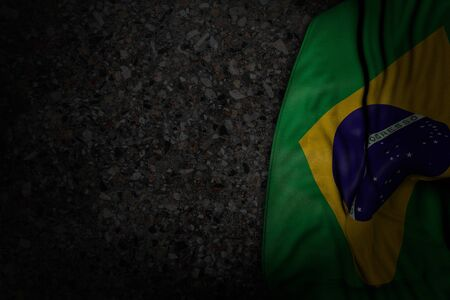 nice holiday flag 3d illustration  - dark image of Brazil flag with large folds on dark asphalt with free space for text