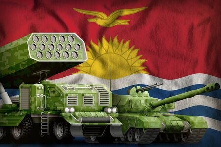 tank and rocket launcher with summer pixel camouflage on the Kiribati flag background. Kiribati heavy military armored vehicles concept. 3d Illustration