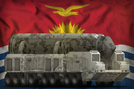 intercontinental ballistic missile with city camouflage on the Kiribati flag background. 3d Illustration