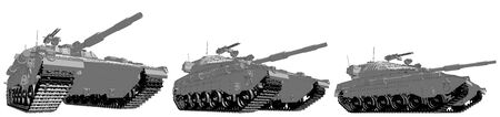 Cartoon style outlined isolated 3D miltary tank with not real design, high detail tank forces concept - military 3D Illustration Imagens