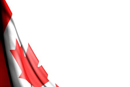 pretty national holiday flag 3d illustration  - isolated picture of Canada flag hanging diagonal - mockup on white with space for text