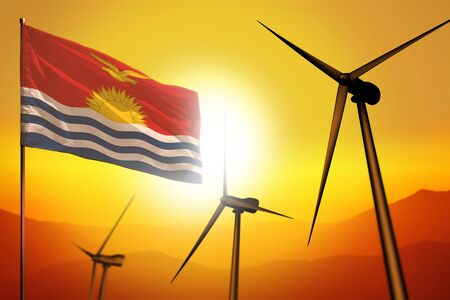 Kiribati wind energy, alternative energy environment concept with turbines and flag on sunset - alternative renewable energy - industrial illustration, 3D illustration Banco de Imagens